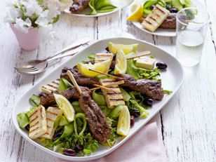 Greek barbecued lamb with haloumi