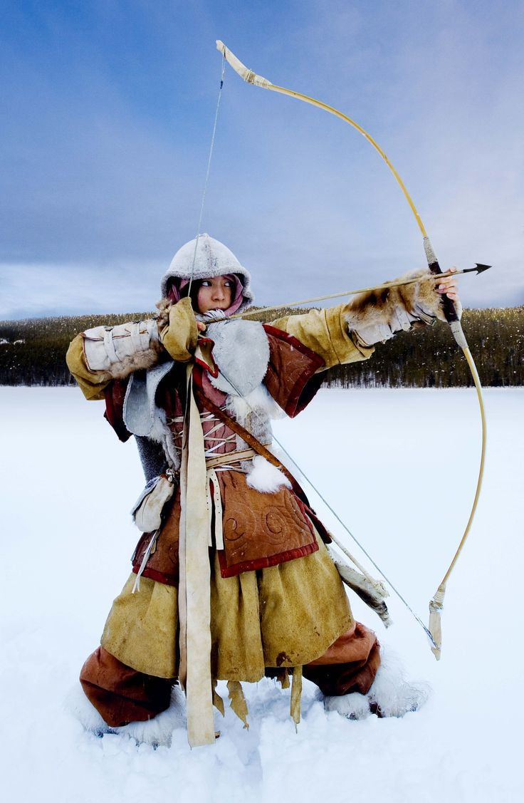 Mongolian Archer woman in the snow