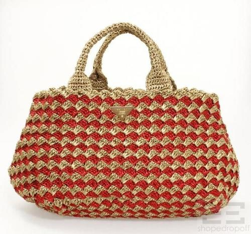 Prada Natural & Red Raffia Crocheted Shopping Tote Bag
