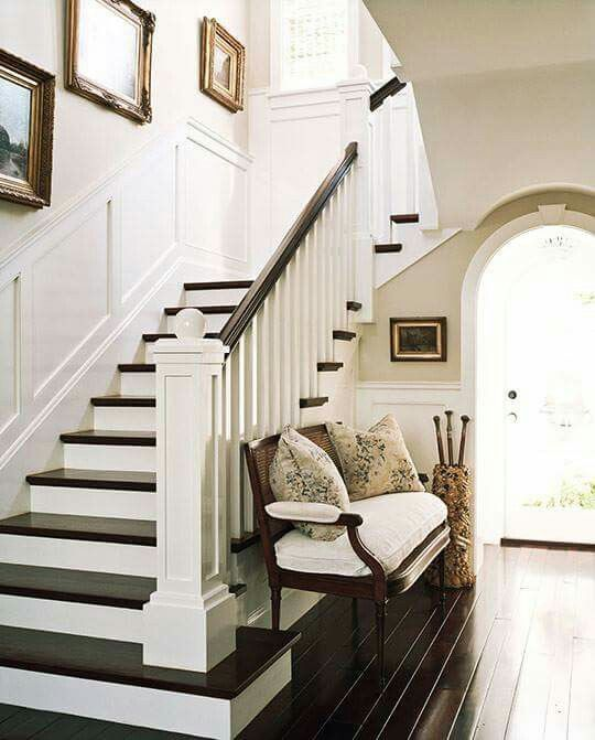 Staircase - white risers & dark treads and dark  wood floor
