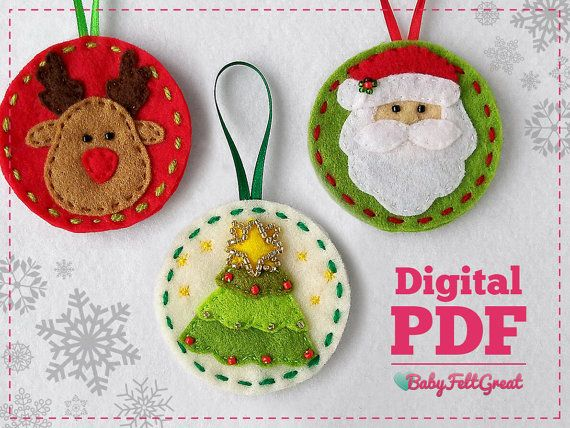 digital pdf pattern diy christmas felt ornaments by