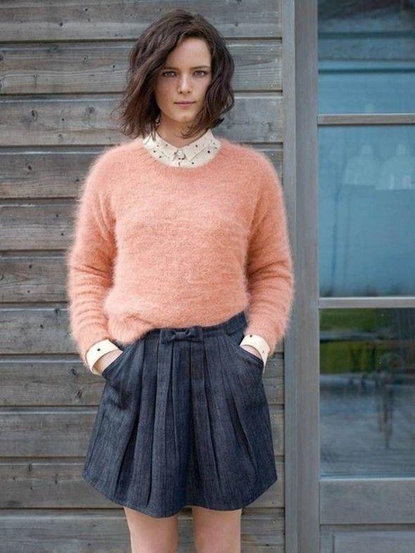 Джинсовая юбка и свитер ангора, Мон-Сен-Мишель Ла Redoute, 99 евро и 139 евро