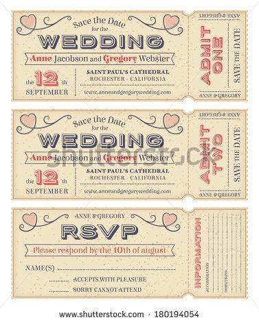 Three hi detail Vector Grunge Tickets for Wedding Invitations and Save the Date…