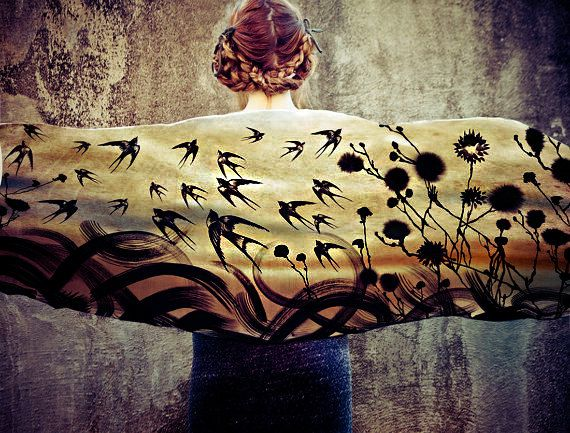 Silk Cotton Swallows  Scarf, Hand painted swallows and florals, stunning unique and useful, perfect gift
