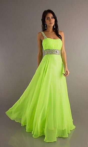 2014 Style A-line One Shoulder Beading Sleeveless Floor-length Chiffon Prom Dresses /