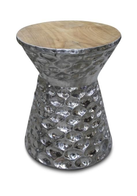 Capture out-of-this-world style with the Jupiter Stool. This piece features a timber top and a beaten metal concave base. Enjoy the pronounced wood grain and na