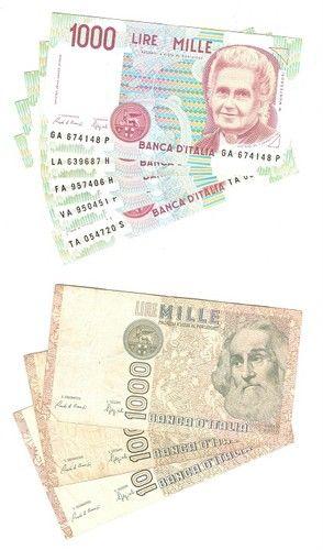 Banca D'Italia 1000 Lire 1982 and 1990 #italy