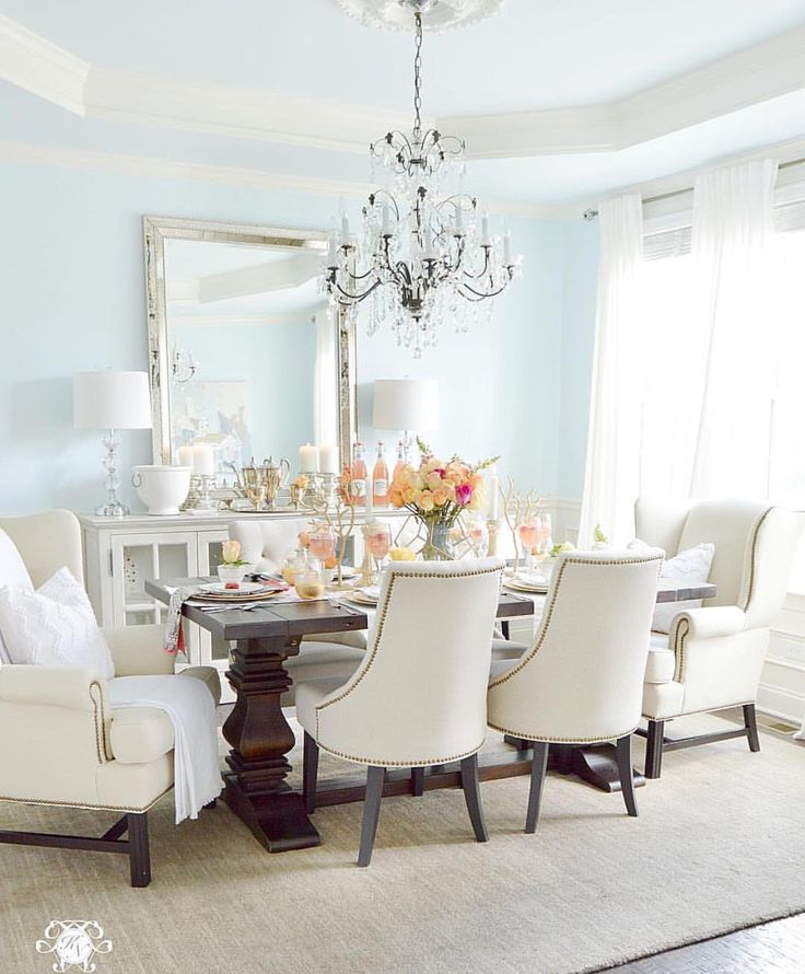 Elegant Dining Room With Laurenu0027s Surprise Blue Paint And Tray Ceiling With  Elegant Crystal Chandelier Part 80