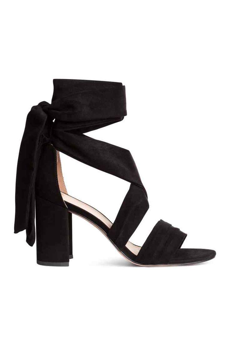 Sandales avec rubans à nouer - Noir - FEMME | H&M FR