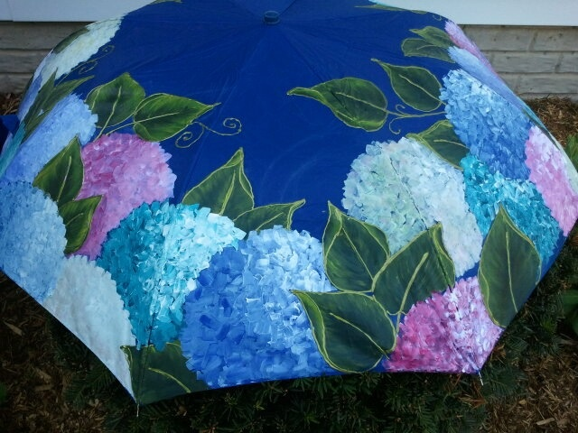 Nothing like the beauty of Hydrangeas to dress up a rainy summer afternoon!  Hand-painted large umbrella - $45