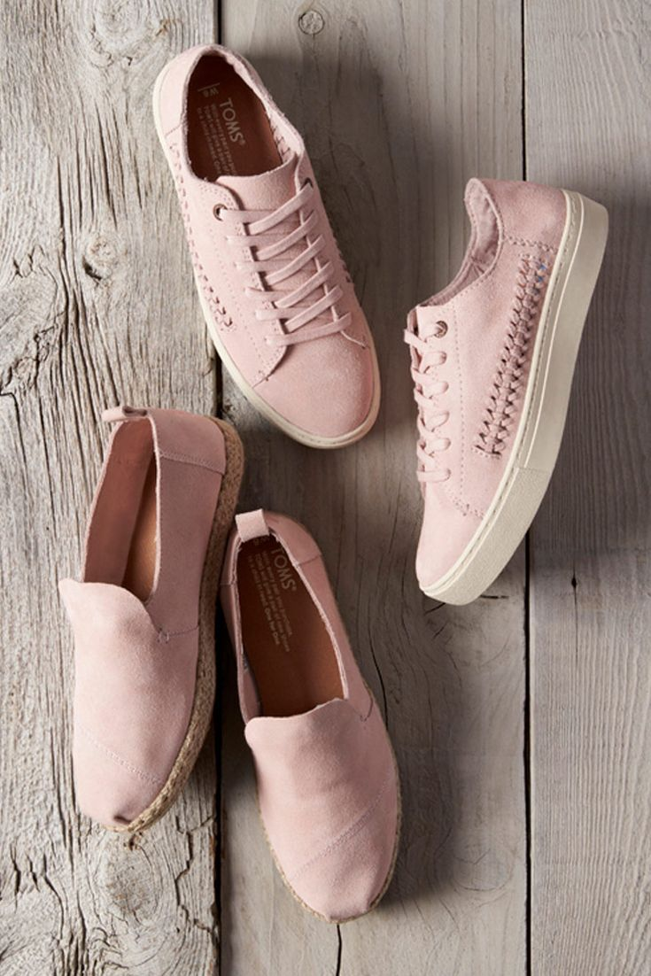 Pale Pink Suede Women's Deconstructed Alpargata Espadrilles and Lenox Sneakers from TOMS. Two new ways to introduce blush pink to your shoe collection.