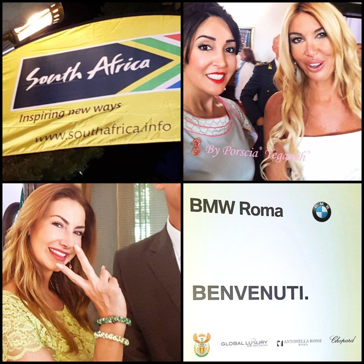Lady in White dress journalist from SKY TV Italy.  Lady below is former VP of AltaRoma (high fashion of Rome).  Sponsors #BMW #CHOPARD