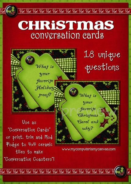 a5c2d6b1396c7 My Christmas Conversation starters are perfect for just that! The cards are  sized as 4x4 graphic images on a simple-to-print PDF file that ...