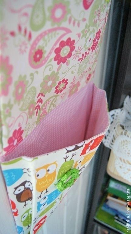 """Купить Кармашки в детский сад """"Совы"""" - розовый, рисунок, совы, Вязаный цветок, пуговицы"""
