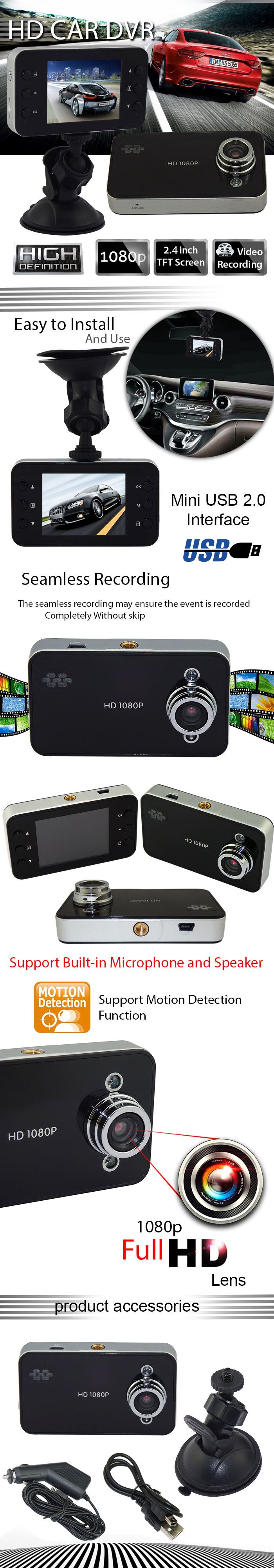 "1080P HD 2.4"" #Car DVR CCTV Driving Video Recorder Accident #Camera with Night Vision"