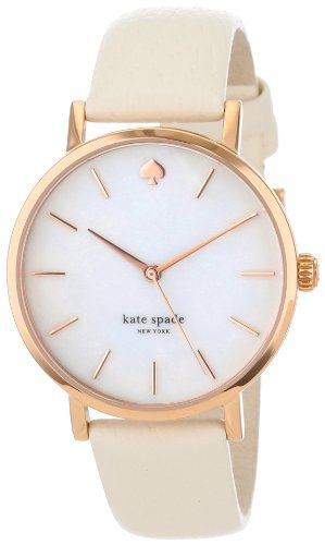 #Kate Spade Women's Metro Stainless steel case, Leather strap, White mother of pearl dial, Quartz movement, Scratch resistant mineral, Water resistant up to 3 AT...