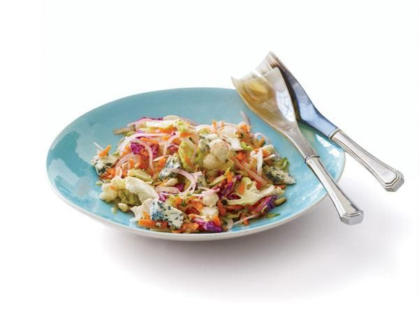 Vegetable Slaw Use a Microplane or box grater to shave raw zucchini, baby carrots and turnips, onions or shallots, and cauliflower. Toss with pine nuts, crumbled blue cheese, and red wine vinegar. The varied textures and colors make this healthy side dish pleasing to the eye and palate.