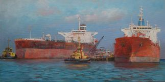 Tanker ships, classic handmade  painting Royalty Free Stock Images