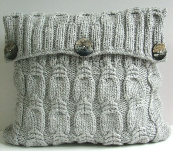 Hand Knitted Pillow Gray color.Exclusive of DubrasenHome