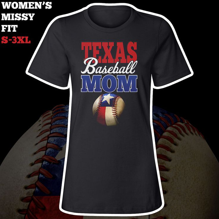 Texas Baseball Mom T-Shirt **** Women's Missy Fit **** Black Tee #texas #cowgirl #baseball #team #tball #rangers #arlington #dallas #coach #teammom #mom