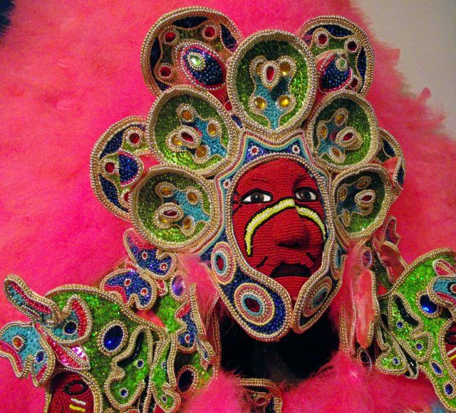 One of the handmade Mardi Gras Indian costumes you can see at The Backstreet Cultural Museum in New Orleans.