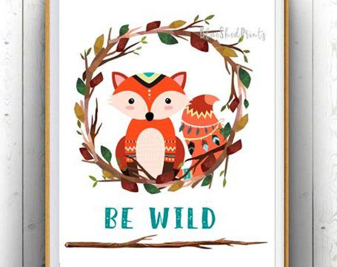 Printable Fox Print,Art Print,Home Decor,Bedroom Decor,Nature Print,Digital Download,Animal Print,Wall Art,Illustration,Woodland Nursery