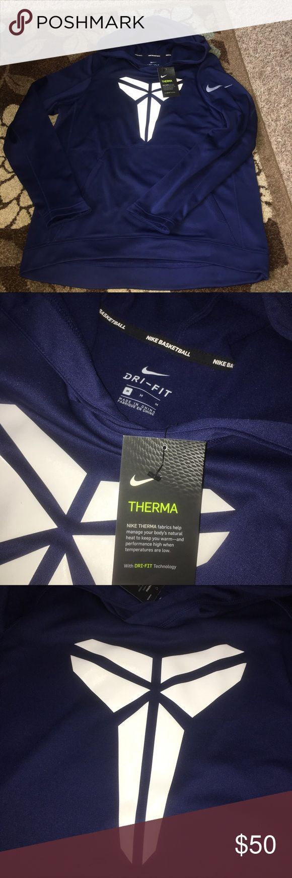 New Kobe Bryant dark blue Nike hoodie Comes from a smoke free home! Brand new with tags! Has huge Kobe Bryant symbol in the front of the jacket and the Nike symbol on one of the sleeves! Designed for Nike basketball! Nike Shirts Sweatshirts & Hoodies