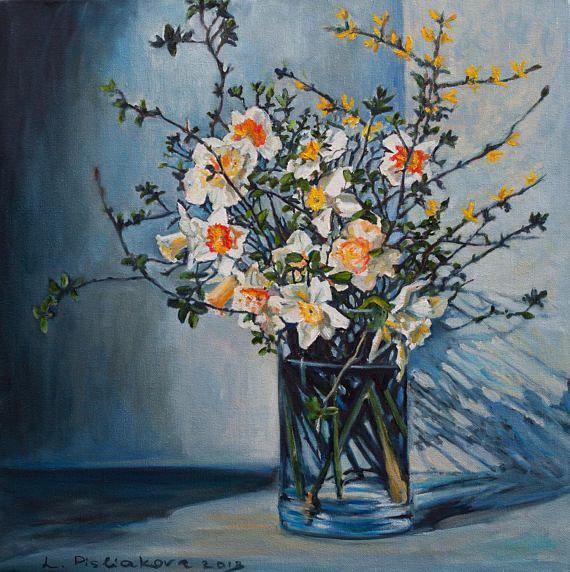 Oil Painting Indigo and Spring Original Artwork Best Gift Home