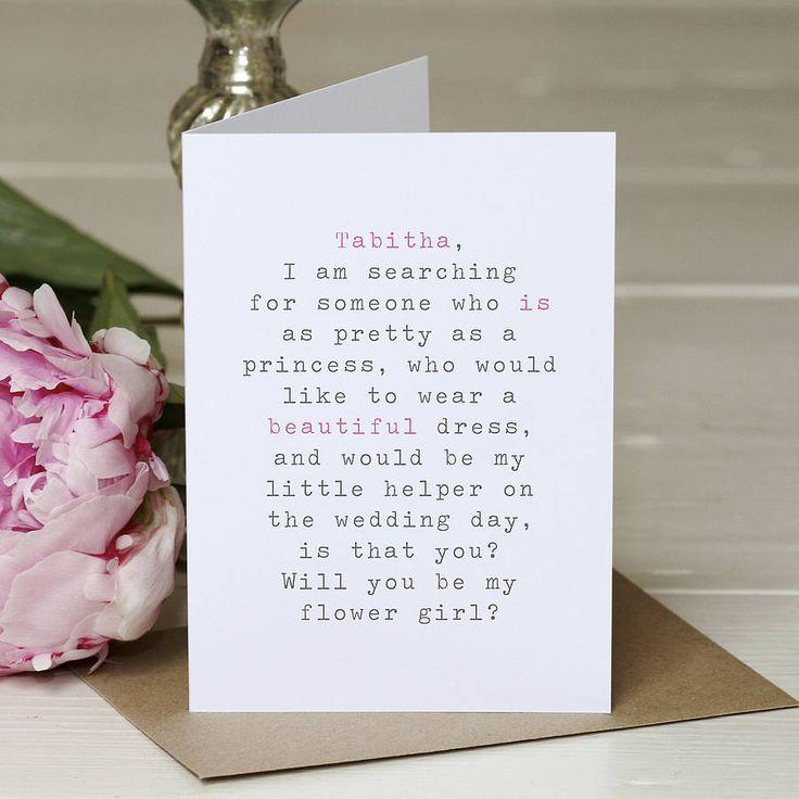 wedding card invitation cards online%0A  u    Be My Flower Girl u     Personalised Wedding Card