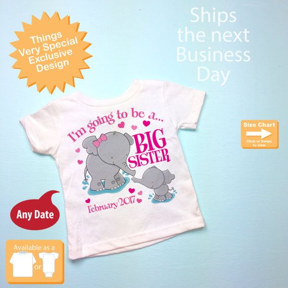 Elephant Big Sister Shirt I'm going to Be a by ThingsVerySpecial