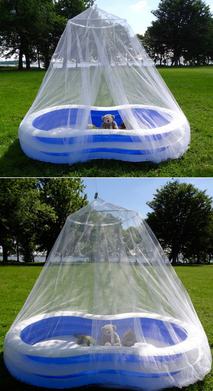 Tedderfield's King-California King Size Mosquito Net perfectly covers most kiddie pools for bug free playtime!  Check out our blog post: http://www.tedderfield.com/kiddie-pool-mosquito-net-for-bug-free-play-time/ Buy this net now on Amazon: https://www.amazon.com/dp/B01MRVZNED