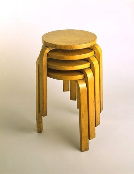 Alvar Aalto, Stool 60, a classic. It was officially launched in London at a Finnish furniture review in November 1933 and manufactured from 1936 on. V&A