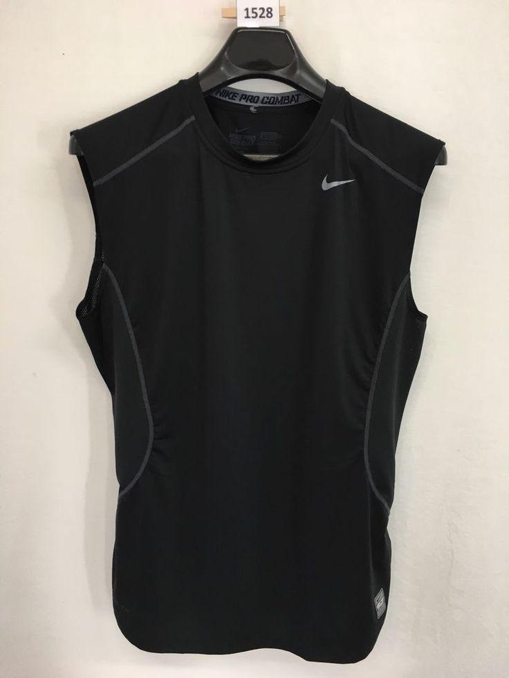 MENS LARGE NIKE PRO COMBAT FITTED T-SHIRT TANK TEE BLACK LOOKS NEW #Nike #ShirtsTops