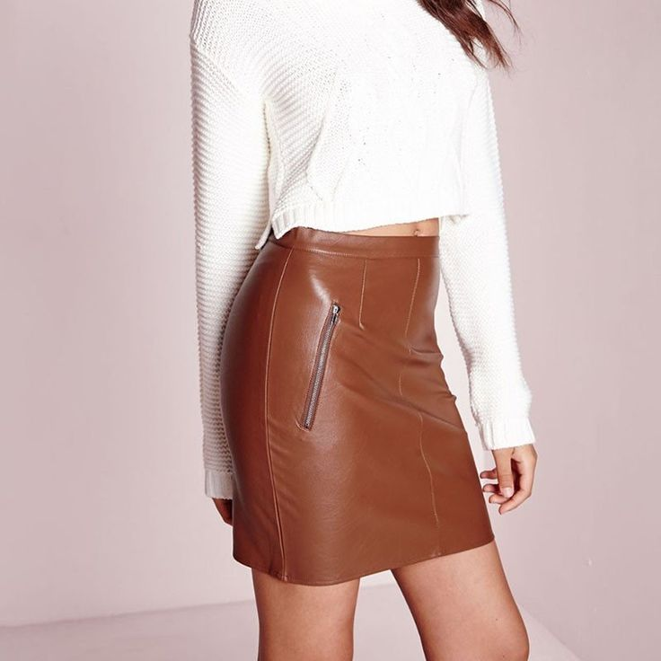 Faux Leather Zip Skirt High Waist Slim Hip Pencil Skirt -  - 3