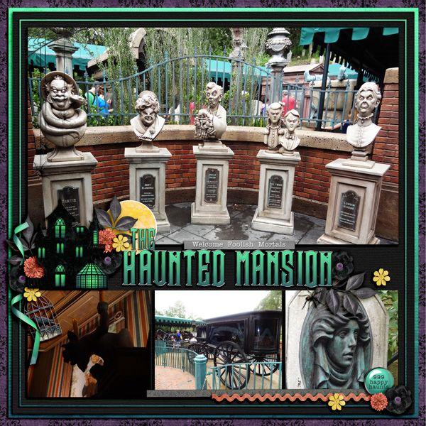 Disney World Haunted Mansion Scrapbook Page Layout