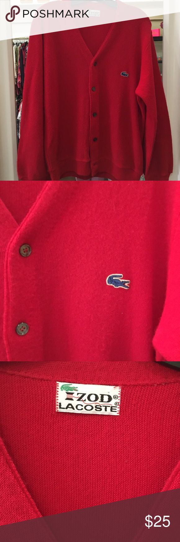 Vintage Red Lacoste Cardigan size Large Fabulous vintage Lacoste Izod Cardigan size Large. Lacoste Sweaters Cardigans