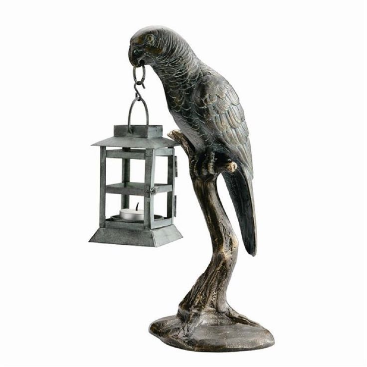 Parrot Lantern Candle Holder Statue Metal Amazon Bird Candleholder Sculpture #NA