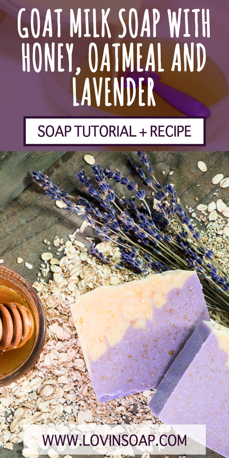 This soap design uses fresh goat milk, oatmeal and honey. Click to get the recipe and make this soap yourself!                                                                                                                                                                                 More