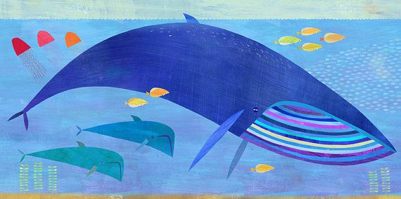 "Blue Whale Bunch, Canvas Art Print 24""x12"""