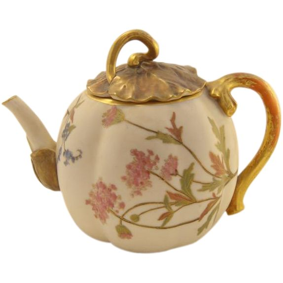 Antique Royal Worcester Blush and Gold Teapot , decorated with pink garden flowers - English Teapot Tea Pot