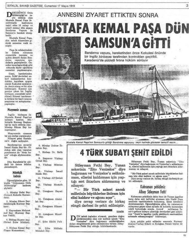 16 Mayıs 1919 - Mustafa Kemal Paşa Türk Kurtuluş Savaşı'nı başlatmak üzere İstanbul'dan Samsun'a doğru yola çıktı...!!!