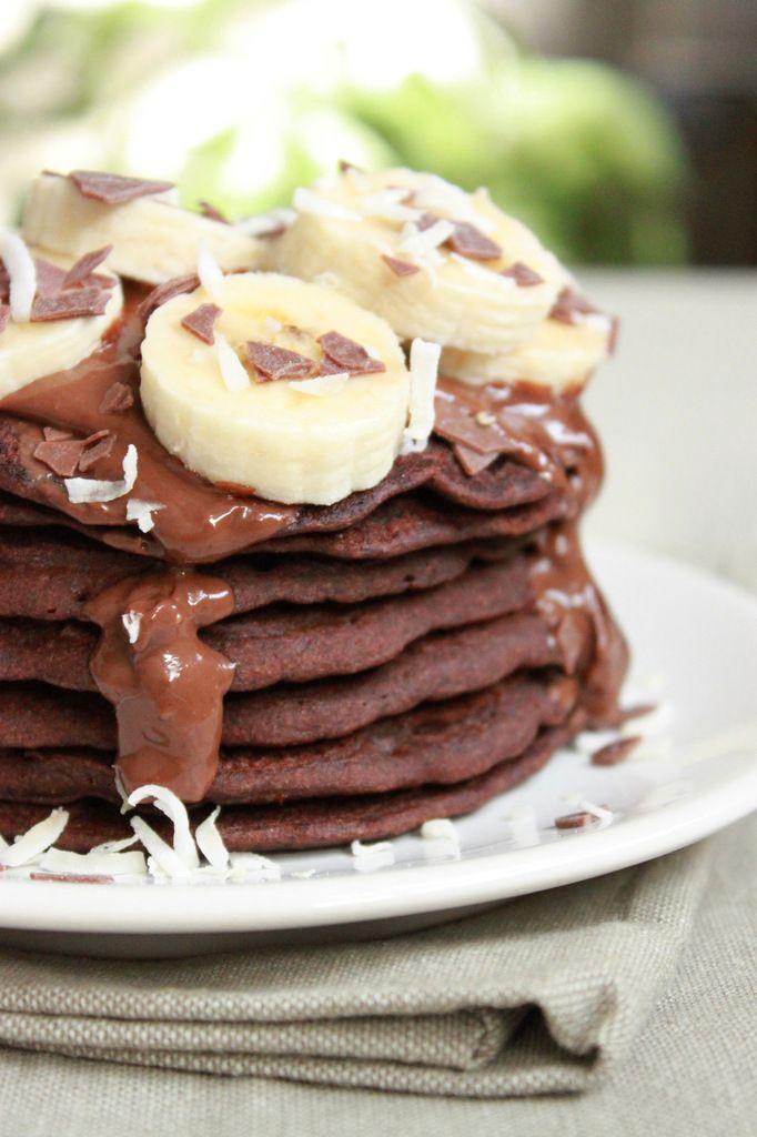 Pancakes à la farine de sarrasin et cacao (véganes et sans gluten)