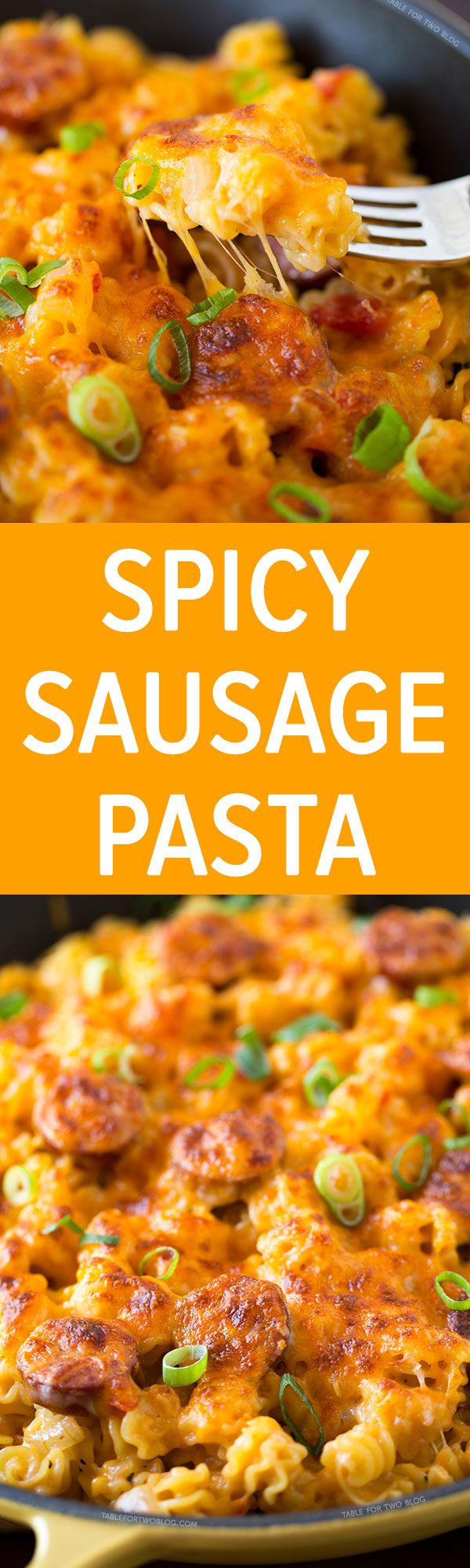 This spicy sausage pasta cooks in one pot and it's ready in no time! It's got so much flavor and a little kick at the end of every bite!