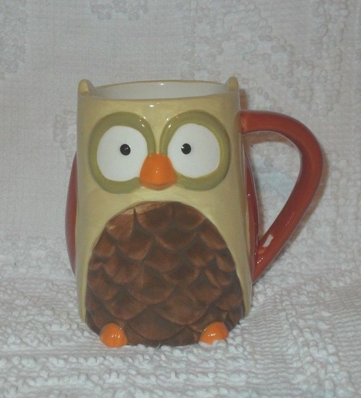 Owl Face Body Figural Coffee Tea Mug Cup Cream Brown Tag Brand #TAG