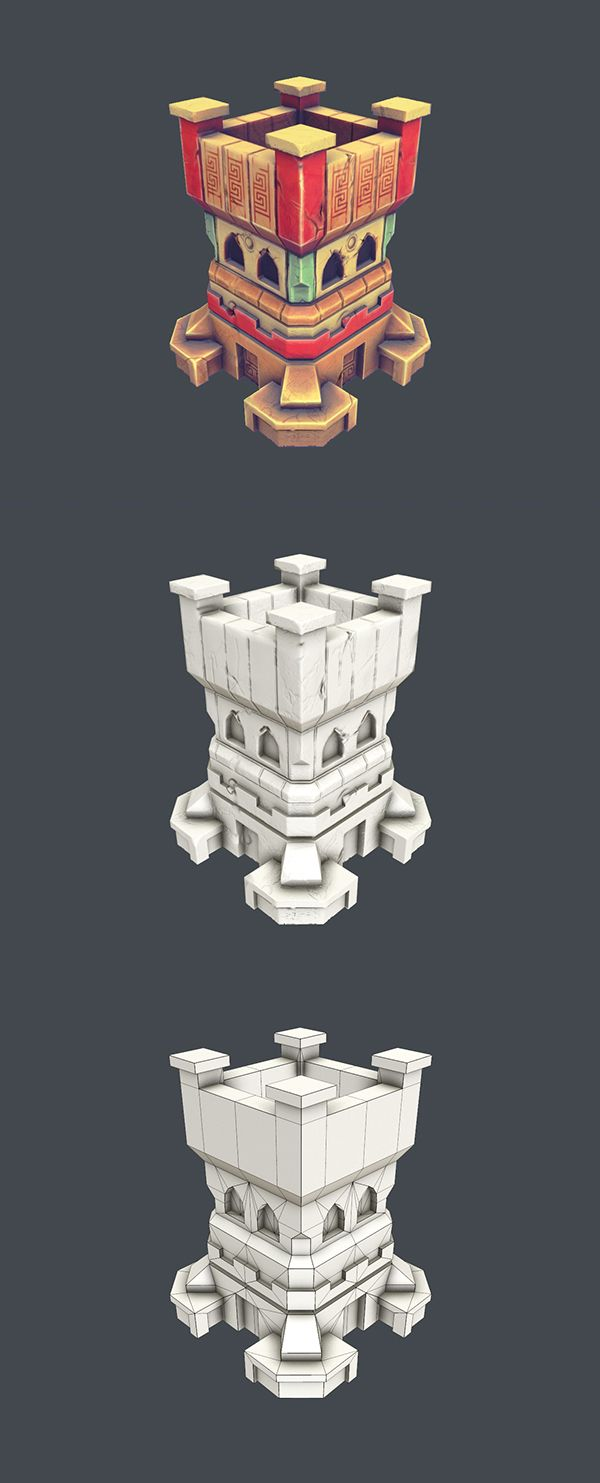Tower (low poly test) on Behance