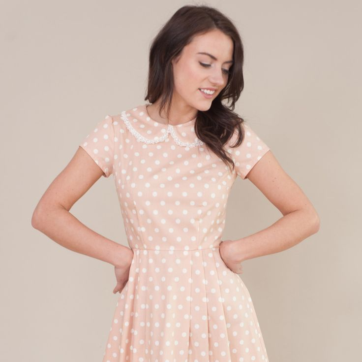 A personal favorite from my Etsy shop https://www.etsy.com/uk/listing/276497736/spotty-dress-with-lace-collar