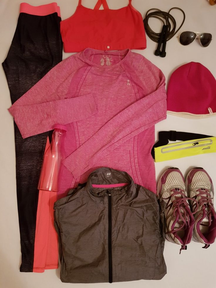 Run active women s jogging KARRIMORE shoes size 38 Reflect women s running legging grey DECATHLON size xs Running wind and rain proof women s jacket light grey H & M size 8 Work out by ATMOSPHERE run dry women s running T shirt long sleeve pink size 10-12 Sportance confort running bra pink Water bootle Adult hat pink DECATHLON  Sunglasses Adult skipping rope black Running waistband