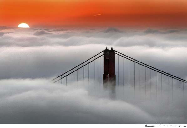 fog -: Image Foggy, Foggy Cities, Golden Gates Bridges, Sunris Sunsets, Plays Misty, Foggy Things, Big Bridges, Crazy Pictures, Foggy Spaces