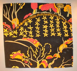 'TREMBATH'   Cornwall: Black silk scarf with 'Trembath' pattern in red, orange and yellow.   Record Number: PEZPH: 1994.195   Identification Title: Trembath   Full name: Crysede Silk Handkerchief    Production  Person: -   Maker: Crysede    Date: -.     ✫ღ⊰n