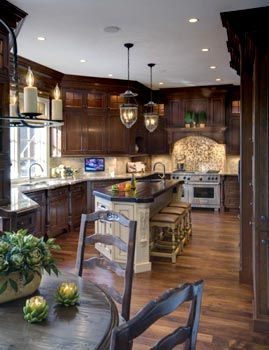 Antiqued Glazed Cherry Cabinets Traditional Kitchen Photos